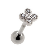 Fashion clover shaped zircon earrings Stainless steel antiallergic tragus Earring-0427-Gifts box