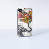 Elephant Flower  Plastic Phone Case For iPhone 4/4S More Case Style Can Be Selected