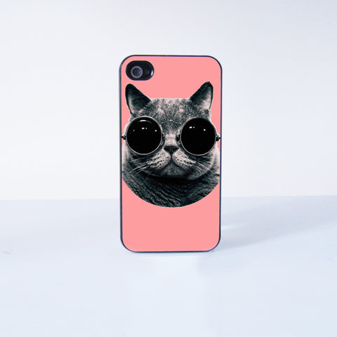 Cute cat with sunglasses Plastic Phone Case For iPhone 4/4S More Case Style Can Be Selected