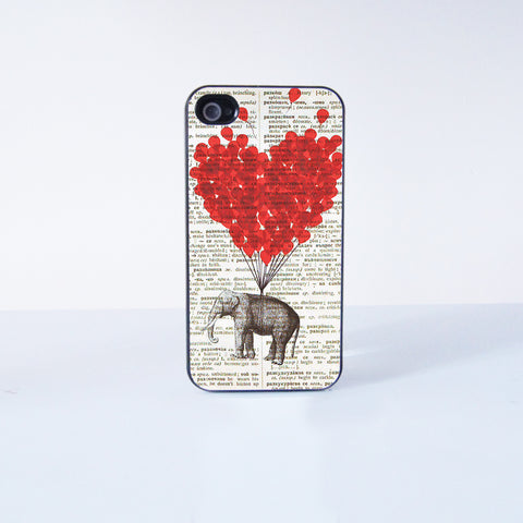 Cute Elephant With Flying Ballon  Plastic Phone Case For iPhone 4/4S More Case Style Can Be Selected