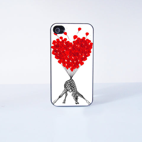 Cute Giraffe With Flying Ballon  Plastic Phone Case For iPhone 4/4S More Case Style Can Be Selected