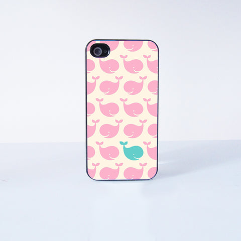 Cute Litte Pink Whale  Plastic Phone Case For iPhone 4/4S More Case Style Can Be Selected