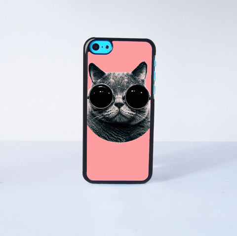 Cute cat with sunglasses Plastic Phone Case For iPhone 5C More Case Style Can Be Selected