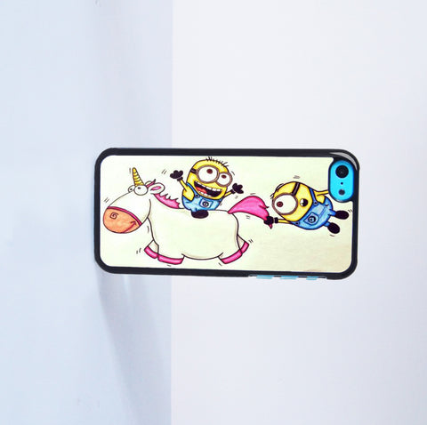 2015 Fashion Minions Ride Unicorn Plastic Case Cover for Apple iPhone 5C 6 Plus 6 5S 5 4 4s