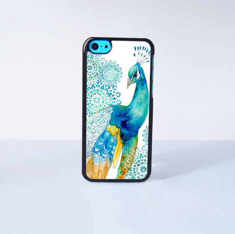 Art Peacock Painting  Plastic Case Cover for Apple iPhone 5C 6 Plus 6 5S 5 4 4s