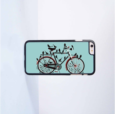 Cute bird on the Bicycle Plastic Case Cover for Apple iPhone 6 Plus 4 4s 5 5s 5c 6