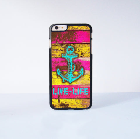Anchor Live Life Plastic Case Cover for Apple iPhone 6S Plus  6S 6 6 Plus 4 4s 5 5s 5c