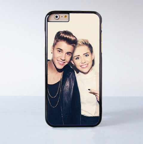 Miley Cyrus and Justin BIeber  Plastic Case Cover for Apple iPhone 6 6 Plus 4 4s 5 5s 5c