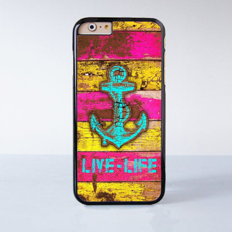 Anchor Live Life  Plastic Case Cover for Apple iPhone 6S 6S Plus 6 6 Plus 4 4s 5 5s 5c