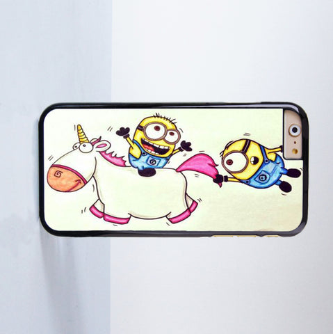 2015 Fashion Minions Ride Unicorn Plastic Case Cover for Apple iPhone 6 6 Plus 4 4s 5 5s 5c
