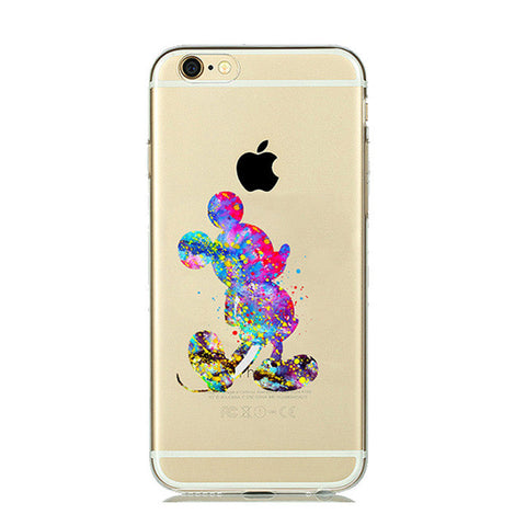 finest selection 9ad25 ff2c5 Cartoon Animal Kissing Mickey Minnie Mouse Soft Clear TPU Case for iPhone7  7 PLUS 6s 6 5s 5 Ariel little Mermaid watercolor Case -0315