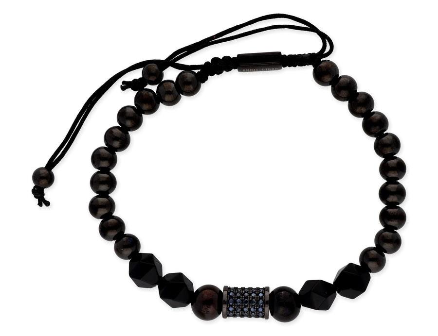 Steel, bronze, onyx and zirconia bracelet - Skull Rider