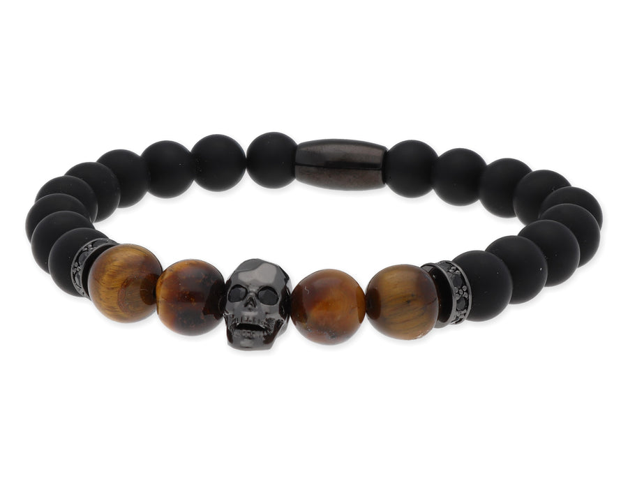 Steel, bronze, tiger eye, onyx and zirconia bracelet - Skull Rider