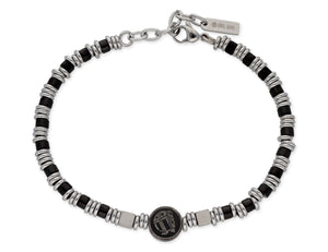 Stainless steel and onyx bracelet - Skull Rider