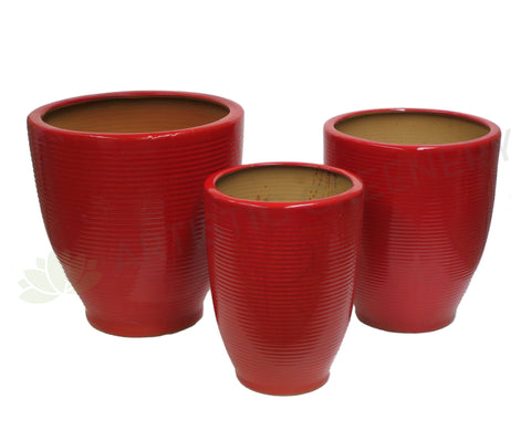 Ceramic Pot - Red / Green  (Large Size)