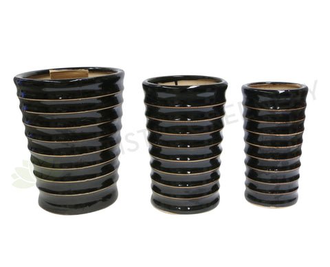 Black With Gold Ribbed Trim - Round (Ceramic)