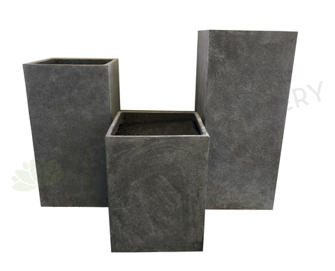 Tall Square Fiberglass Planter (Code: FG014) 3 Sizes Light Grey