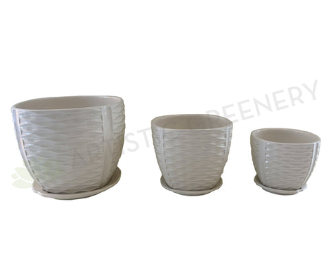 CER1303-4 Glazed Ceramic Pot (Wave Pattern) with Saucer - White - 3 Sizes