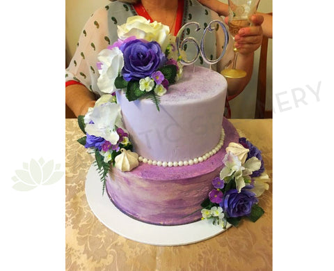 Cake Flower (Silk Purple & White Flowers)