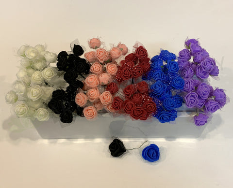 ACC0092 Small Foam Flowers (for craft project & hair accessories) 6 Colours