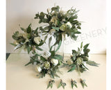 Round Bouquet - Native White & Greenery - Alana B