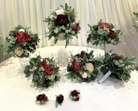 Round Bouquet - Burgundy & Native Greenery - Amie H