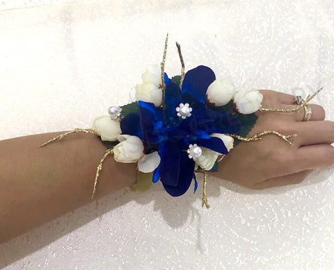 Corsage - Blue Orchid with Gold Twigs & Pearls- Ariana