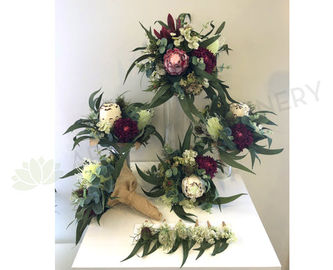 Round / Natural Bouquet - Maroon & Burgundy Native Flowers - Ashleah