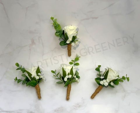 Buttonhole - White Rose with Gypso (Product Code: BH001)