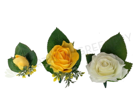 Buttonhole - Yellow or White Rose - Lucy