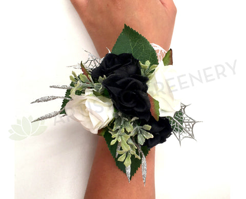 Corsage - Black & White Roses with Silver