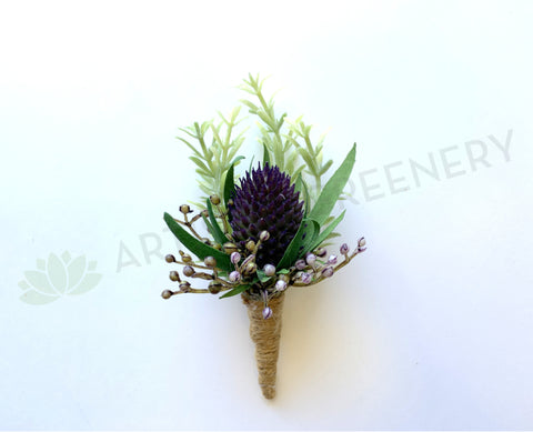 Thistle Sea Holly Buttonhole