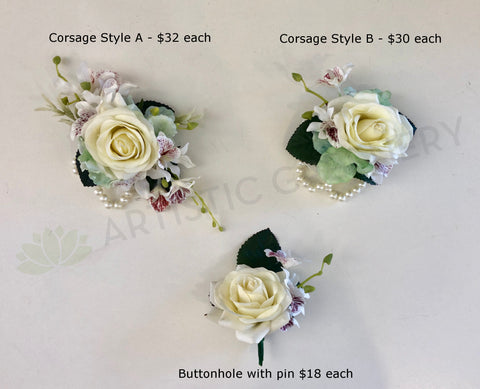 Corsage & Buttonhole - White & Jade Colour - CB0007 - $50/set