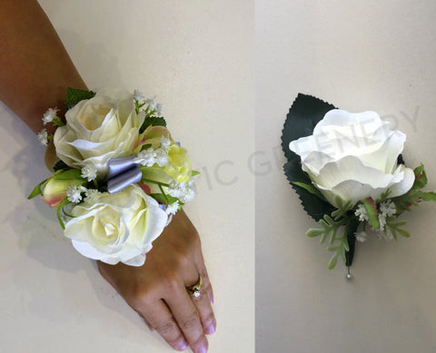Corsage & Buttonhole - White Roses with Silver Ribbons - CB0014 - $48/set