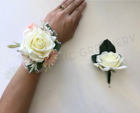 Corsage & Buttonhole - White Rose with Pink Flowers - CB0021 - $48/set