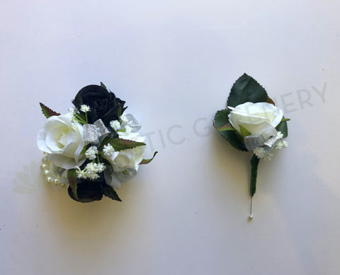 Corsage & Buttonhole - Black & White Roses with Silver Ribbons- CB0022 - $50/set