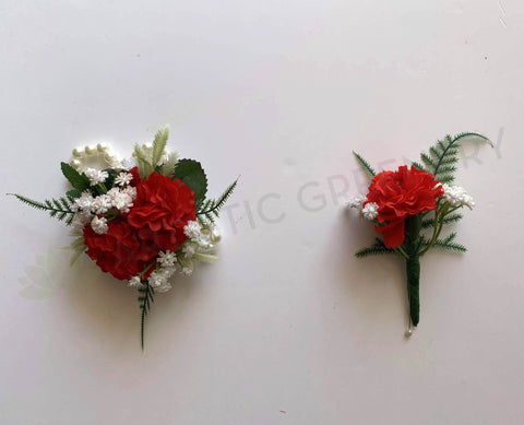 Corsage & Buttonhole - Red Carnation with Gypso - CB0026 - $56/set