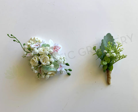 Corsage & Buttonhole - Small Roses with Orchids - CB0027 - $56/set | ARTISTIC GREENERY