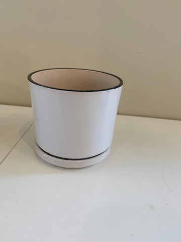 Small - CER-95092-1 White Glazed Ceramic Pot with Black Rim with Saucer - 3 Sizes