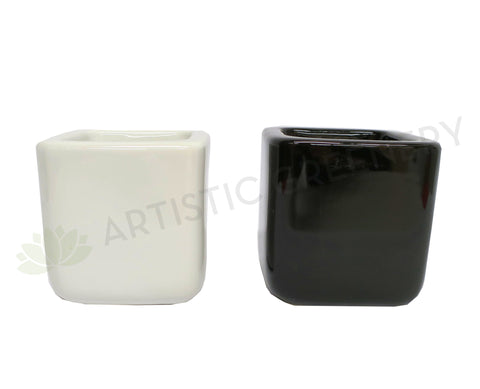 Square Ceramic Pot (Desktop Size) CER9595 Black / White