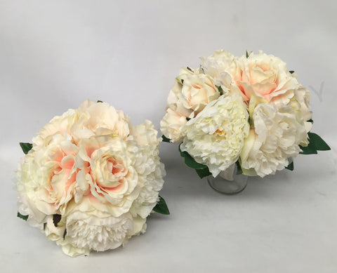 Round Bouquet - Champagne & White - Carolyn H