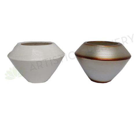 Ceramic Spinning Top Shaped Vase - Metallic / White