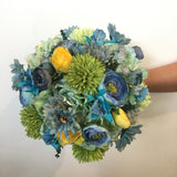 Round Bouquet - Blue Lime Yellow - Claire