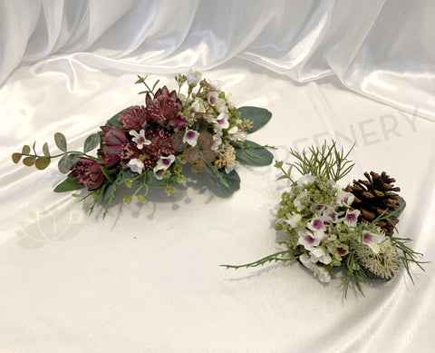 Silk Flower for Wedding Cake Decoration (Artificial Flowers & Pine Cones) Colin E | ARTISTIC GREENERY