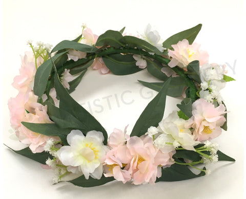 Custom-made Floral Crown - White & Pink Blossom