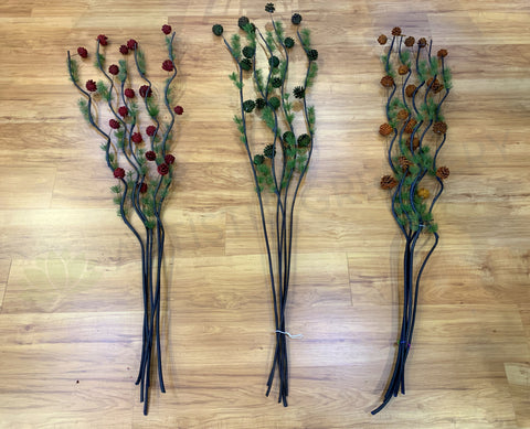 DS0031 Twigs / Decorative Sticks with Pine Cones 150cm 3 Colours | ARTISTIC GREENERY