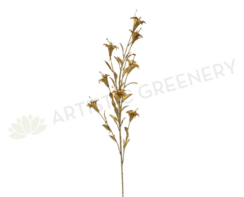 DS0047 Glitter Lily Stem 120cm Gold | ARTISTIC GREENERY