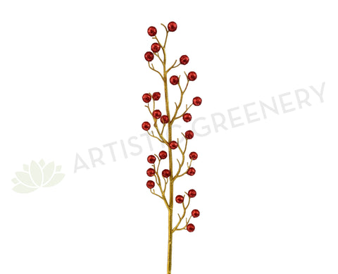 DS0048 Glitter Red Balls Twig 95cm | ARTISTIC GREENERY