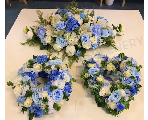 Memorial Silk Flowers - Blue & White - Oval / Round / Heart Shape - SYM0033