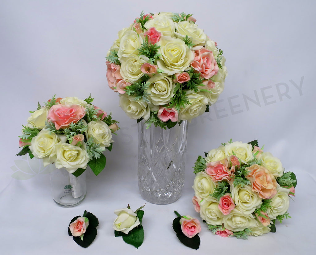 Round bouquet elise s pink and white silk flowers affordable real round bouquet pink white elise s izmirmasajfo
